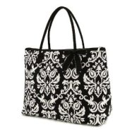 belvah Quilted Damask Print Large Tote Bag