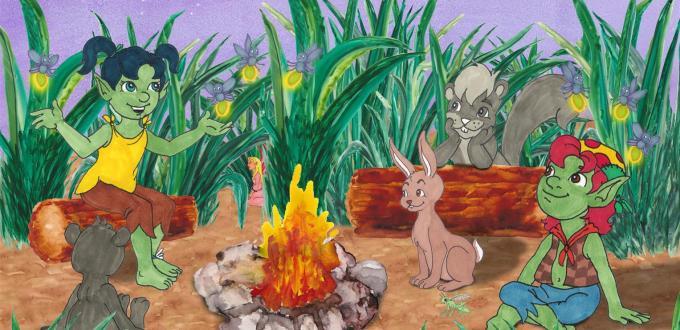 Starlit Troll sharing stories by the campfire Award Winning Author Kathleen J Shields educational books hamilton troll