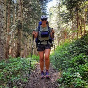 Kathleen Neves Hiking on Trail