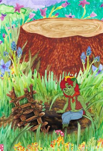Lives in a hole next to a choppped down tree hamilton troll books kathleen j shields author