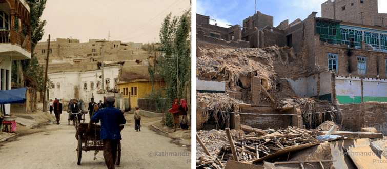 Kashgar Old Town China then and now