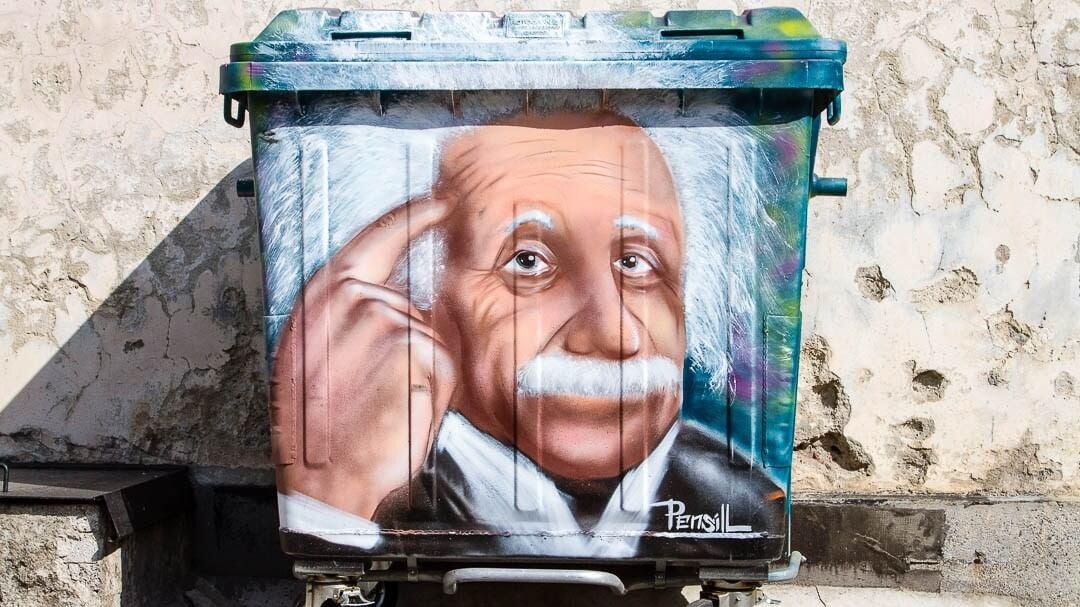 Travel Shot   Einstein Street Art in Sofia   Bulgaria