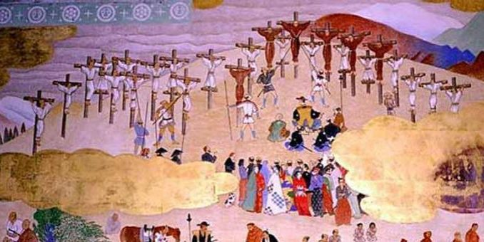 Kreuzigung von Christen in der langen Verfolgungszeit in Japan.