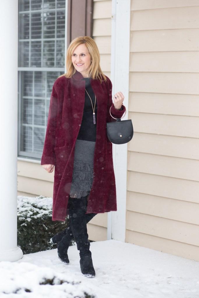 Oxblood Faux Fur Long Coat with Grey Fringe Skirt and Black OTK Boots
