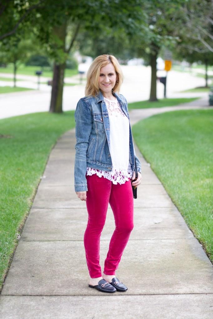 Pink Corduroy Jeans by Kathrine Eldridge, Wardrobe Stylist