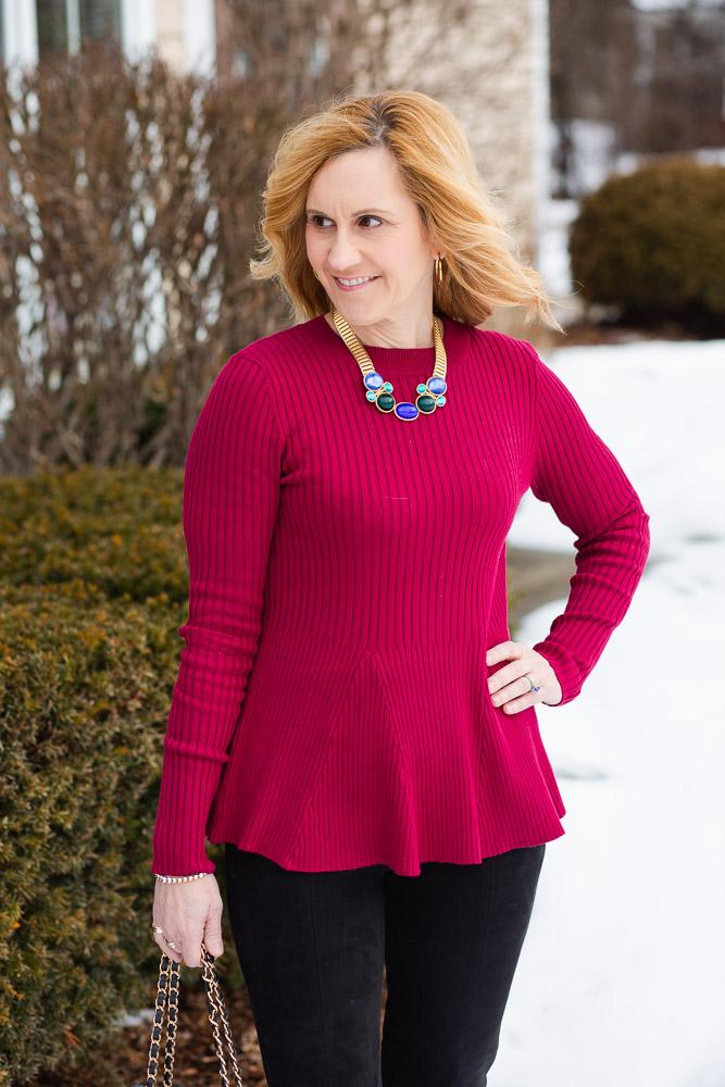 Ribbed Peplum Sweater in Dark Red by Venus
