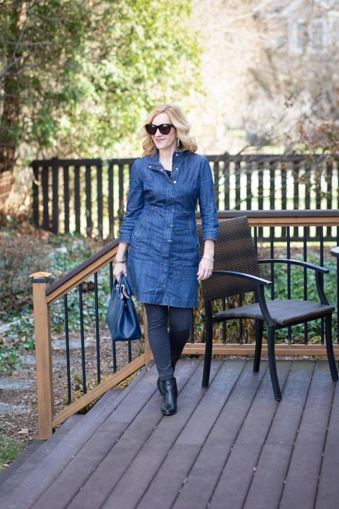 Wearing denim in the winter season.