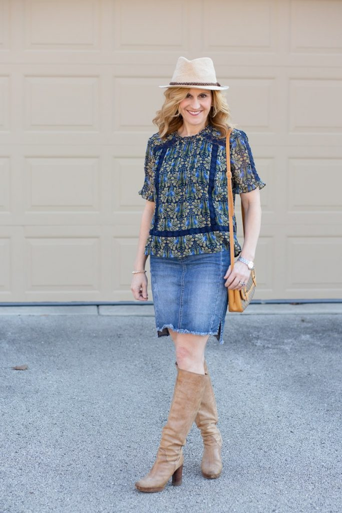 Loving this peacock pretty blouse paired with this casual denim skirt.