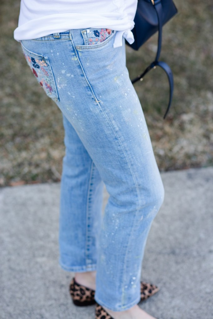 Paint Splatter Embroidered Slim Straight Jeans by Pilcro and the Letterpress by Anthropologie