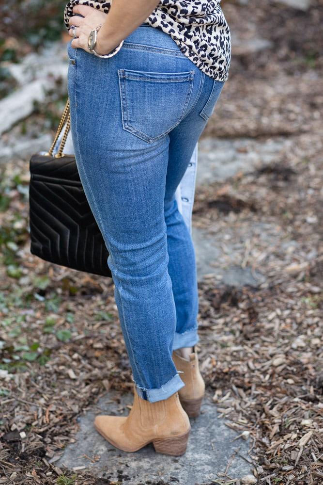 Gia Glider Crop Cut Hem Crosshatch skinny jeans by Liverpool Los Angeles