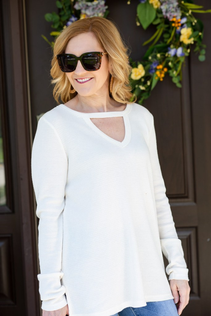 Nadia Cut-Out Waffle Tunic from Anthropologie