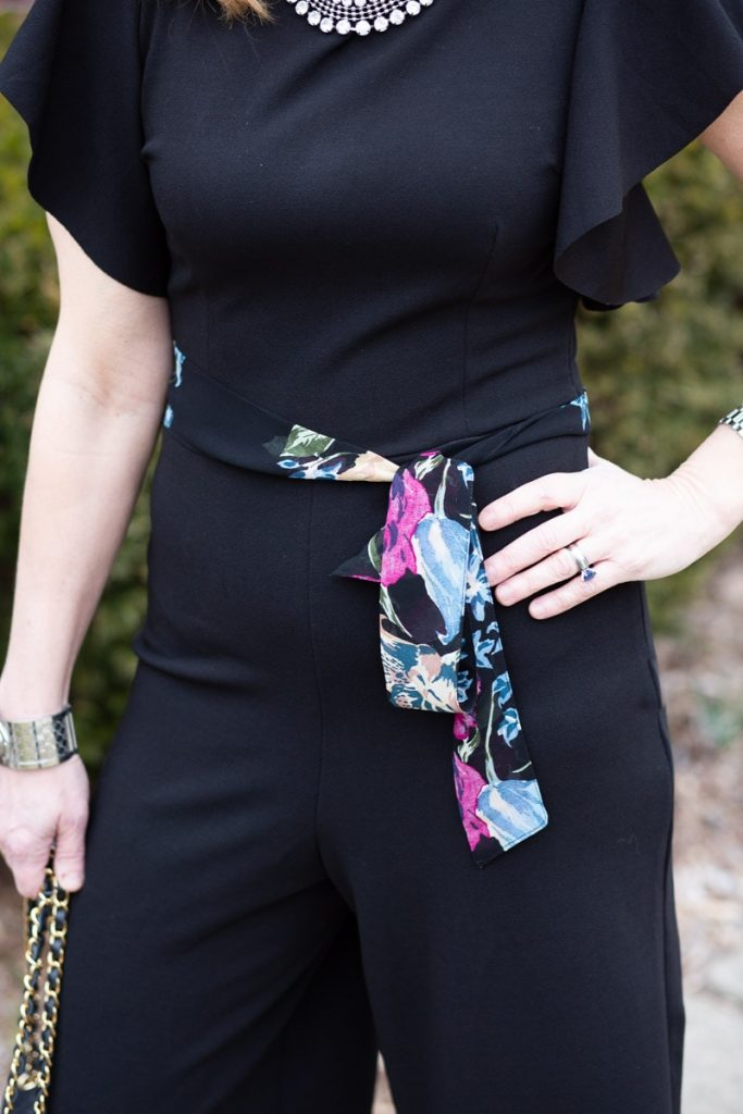 Added a floral kimono belt to my black jumpsuit.