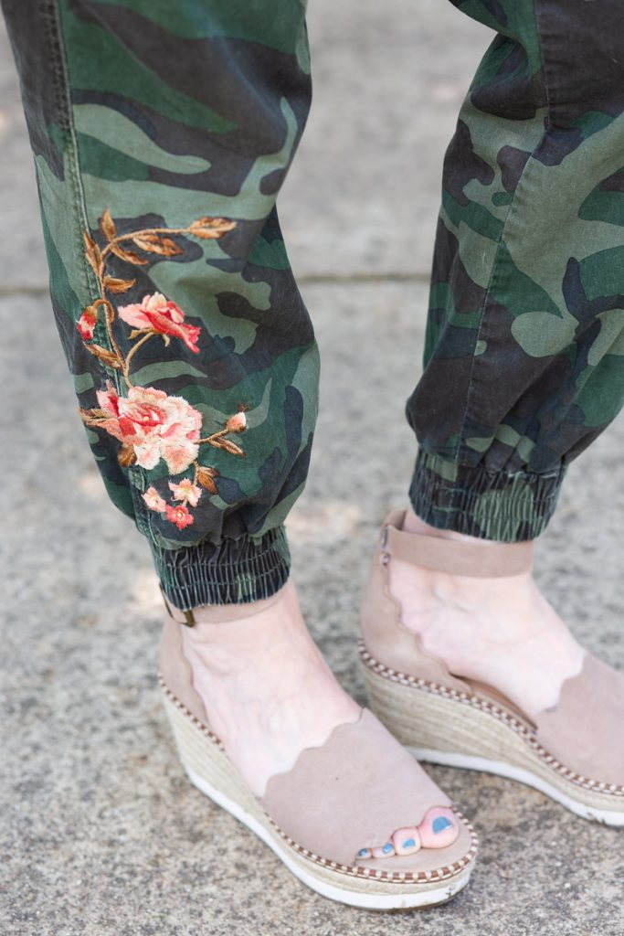 Embroidered details of these floral joggers by Driftwood.