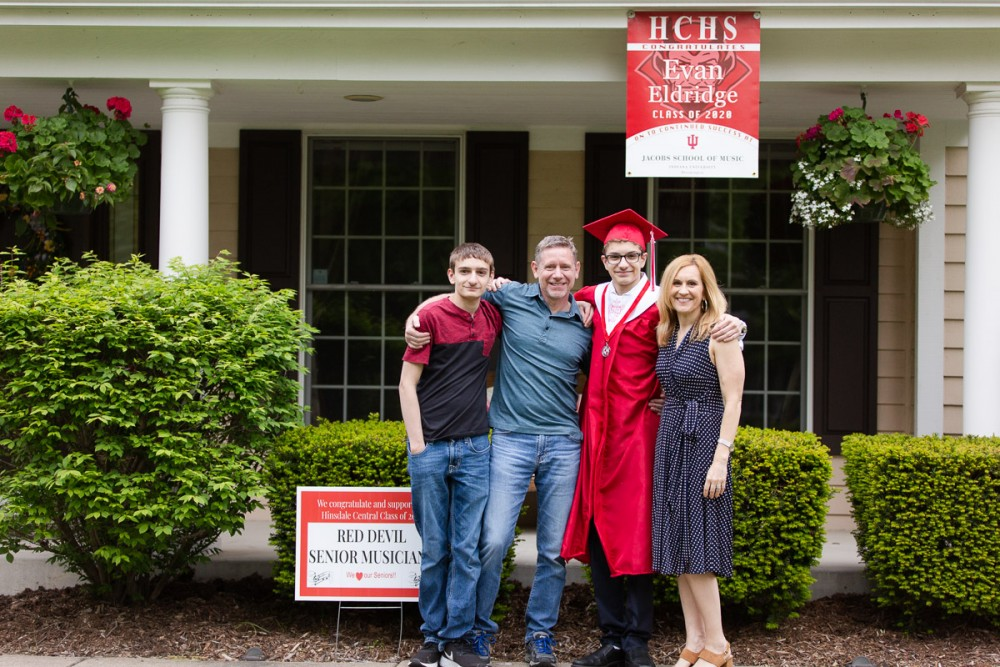 My family celebrating my oldest son's high school graduation from Hinsdale Central High School.
