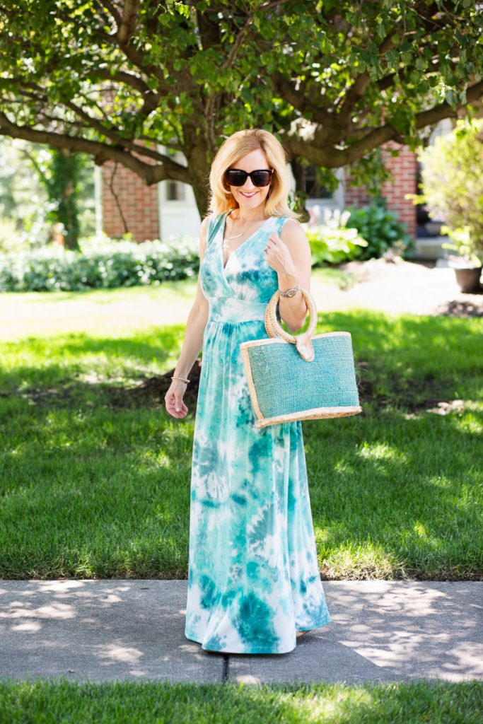 Staying cool this summer in this long maxi dress from Amazon.