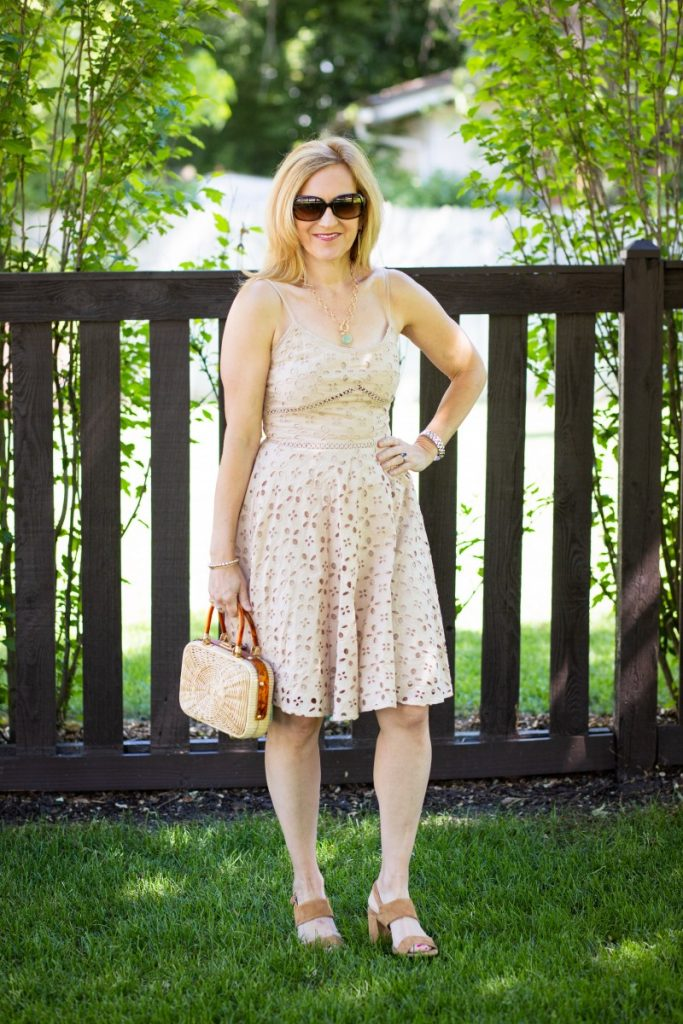 A chic sundress that features eyelet fabric.