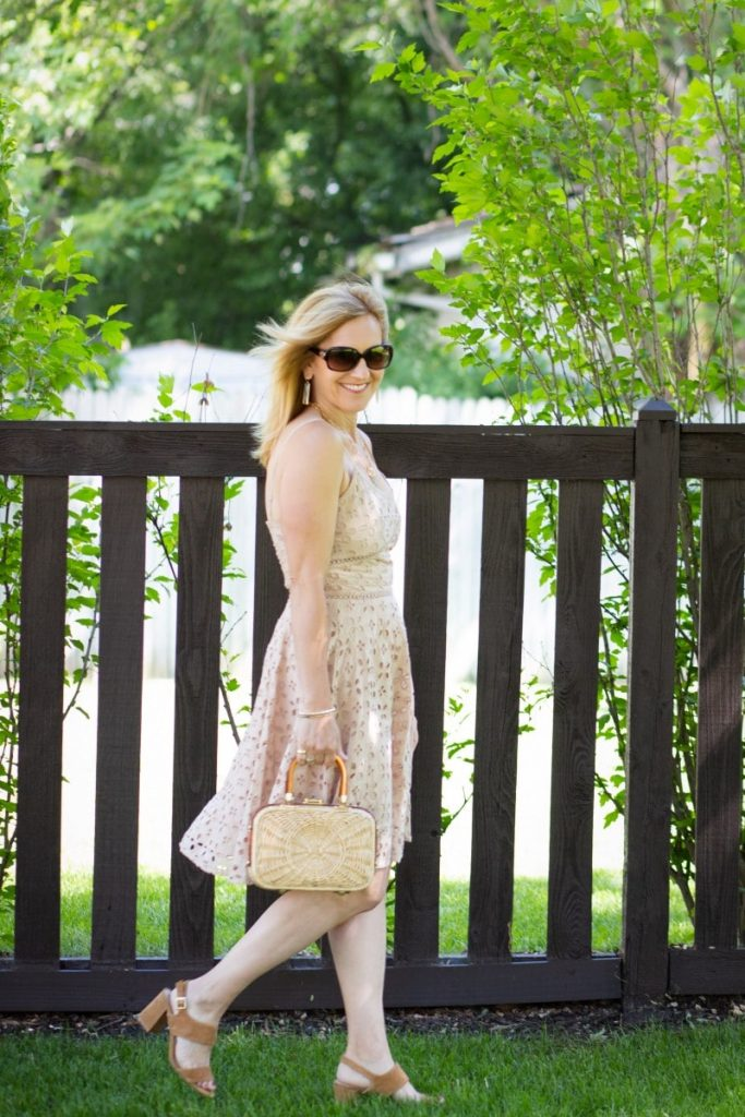 A neutral-colored fit and flare dress.