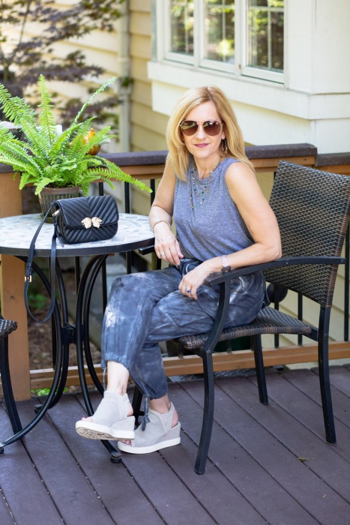 A casual summer chic look featuring tie dye joggers.