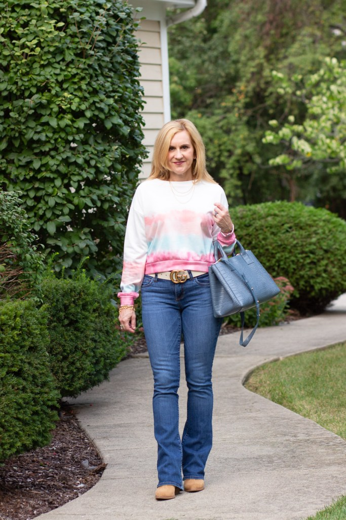 Adding some to color to my fall wardrobe with this tie dye top.