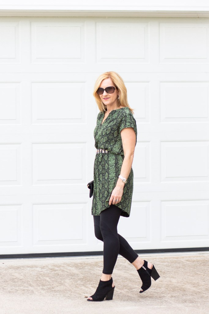 Adding leggings underneath a dress to keep warm for fall.