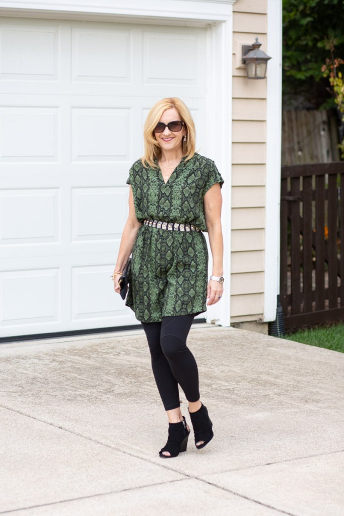 Adding edgy details to a tunic dress.