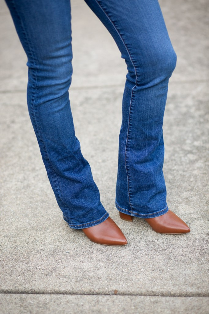 Styling bootcut jeans with my Steve Madden Natalie pointed toe booties in cognac leather.