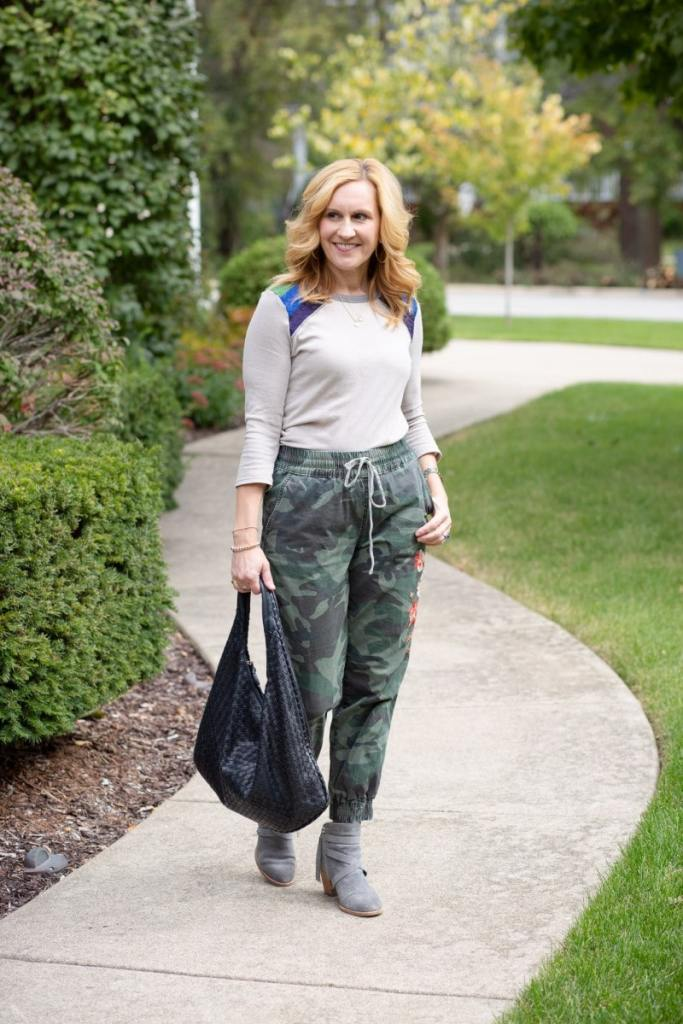 How to Wear Camouflage Joggers in the Fall by Kathrine Eldridge, Wardrobe Stylist