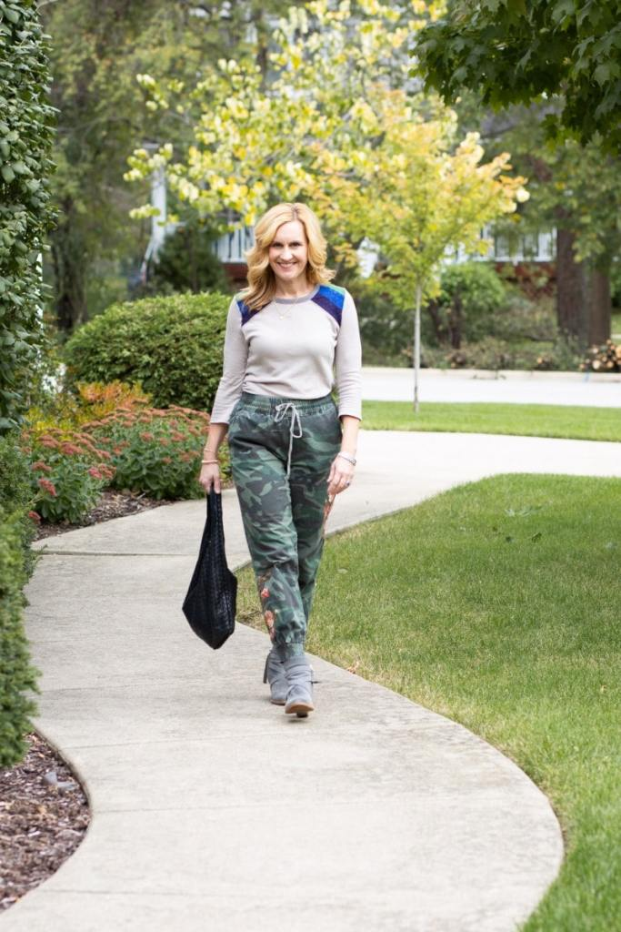 Stying a color blocked tee with camouflage joggers for the fall season.