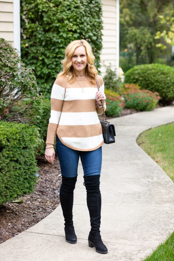 Pairing a striped sweater with dark skinny jeans and black suede over the knee boots.