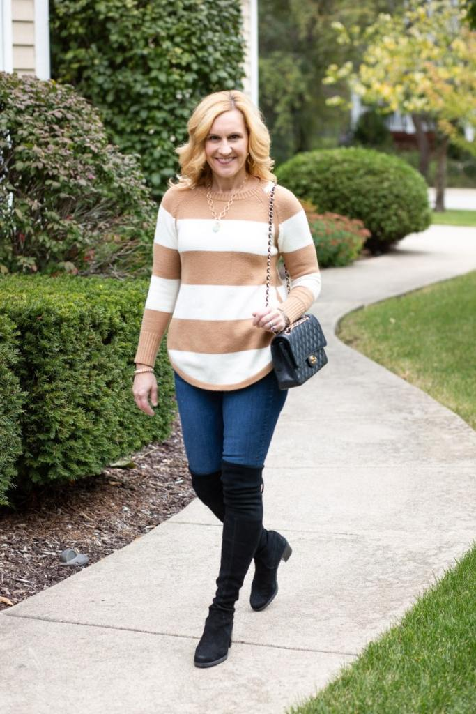 Foolproof Fall Uniform with Stripes and OTK Boots by Kathrine Eldridge, Wardrobe Stylist