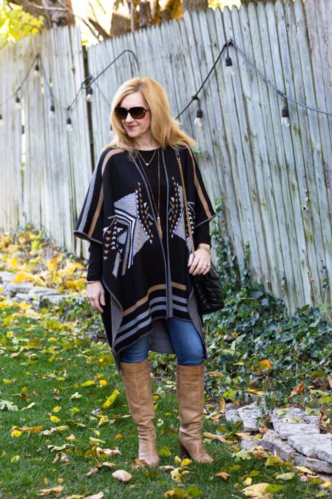 Love the unique western print of this poncho sweater by Driftwood.