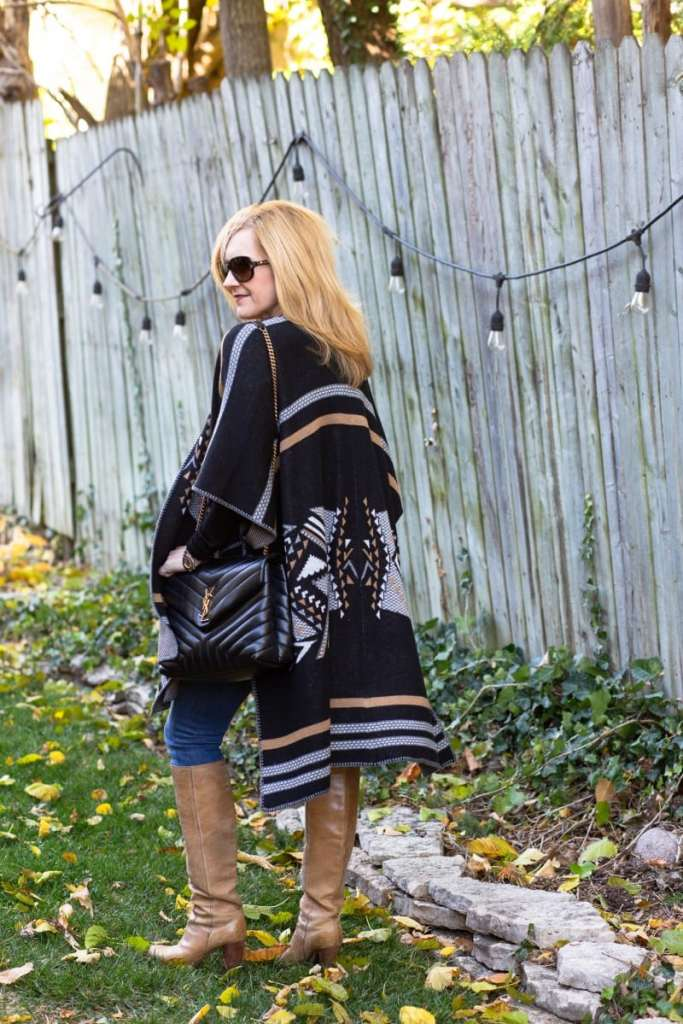 Styling a cozy western-style wrap for fall.