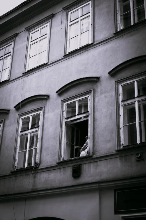 Person alone in window