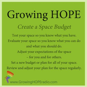 Growing HOPE daily - five tips to manage space
