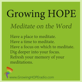 #GrowingHOPE - 5 points - meditate on the word