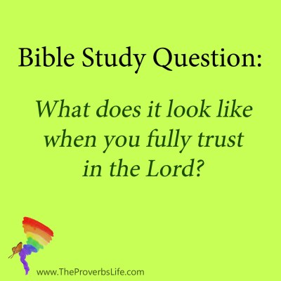 Bible Study Questions - fully trust in the Lord