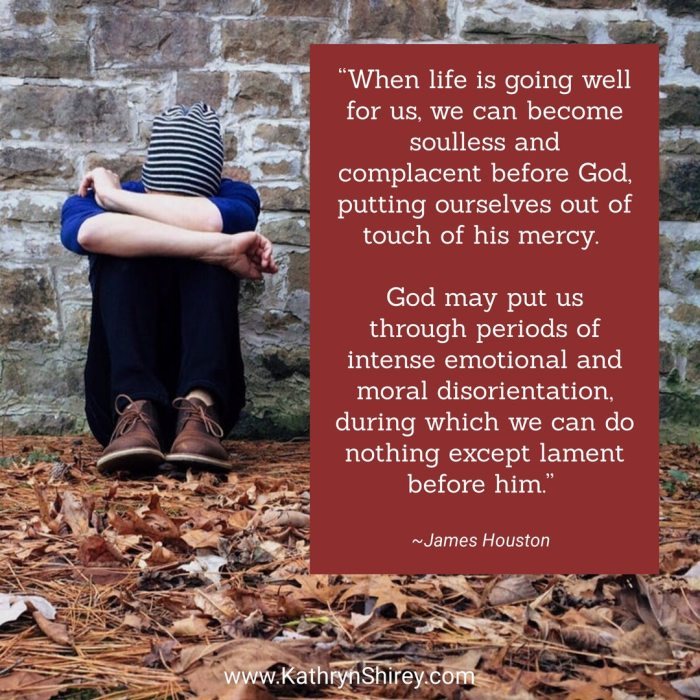 """When life is going well for us, we can become soulless and complacent before God, putting ourselves out of touch of his mercy. God may put us through periods of intense emotional and moral disorientation, during which we can nothing except lament before him."" ~James Houston"