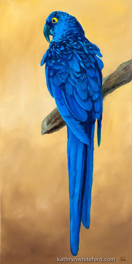 """""""30 Days of Birds, Day 19"""" Oil painting on canvas, 8x16 inches"""