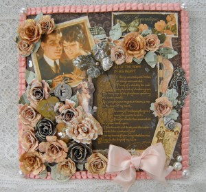 """8x8"""" Mixed Media Memory File Made using Le Romantique, Staples and Handmade Flowers"""