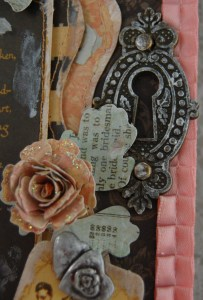 Close up of ornate keyhole, stitching and distressed edges.