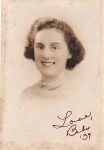Mom's graduation photo from 1939.  I love her elegant handwriting.