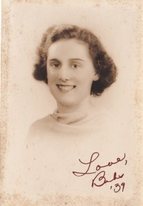 Mom's graduation photo from 1939.  I love her elegant handwriting.