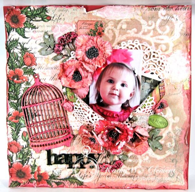 Kathy by Design/Blazing Poppies Mixed Media Layout 01a