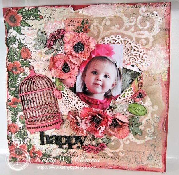 Blazing Poppies Mixed Media Layout 02a