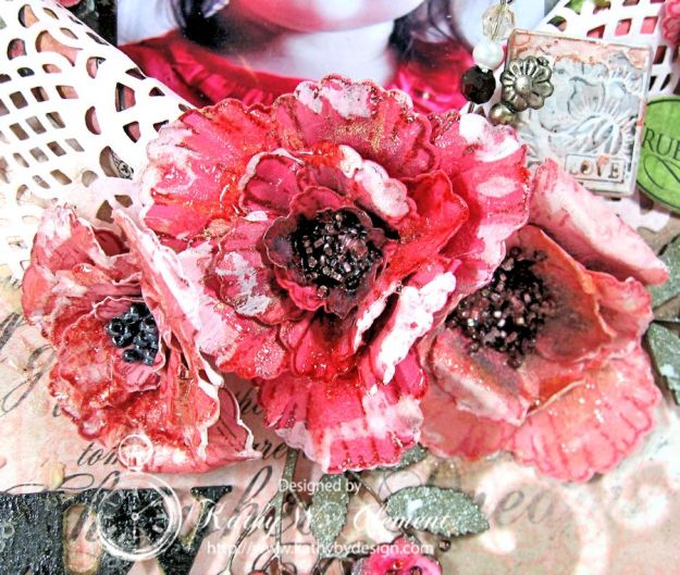 Blazing Poppies Mixed Media Layout 05a