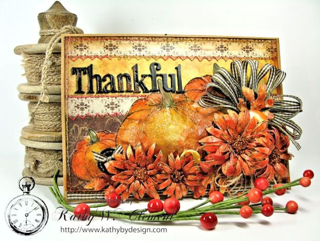 Kathy by Design/Thankful Card and Tutorial for Heartfelt Creations