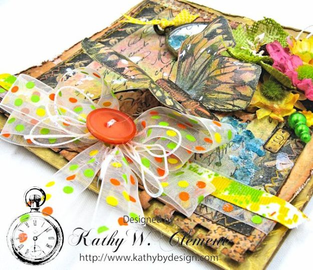 Butterfly Card Tutorial by Kathy Clement Canvas Corp Brands Mixed Media Papers and RRR June 2016 Ribbon Club Collection 04