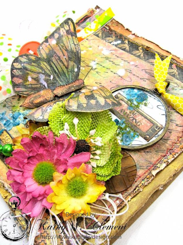 Butterfly Card Tutorial by Kathy Clement Canvas Corp Brands Mixed Media Papers and RRR June 2016 Ribbon Club Collection 05