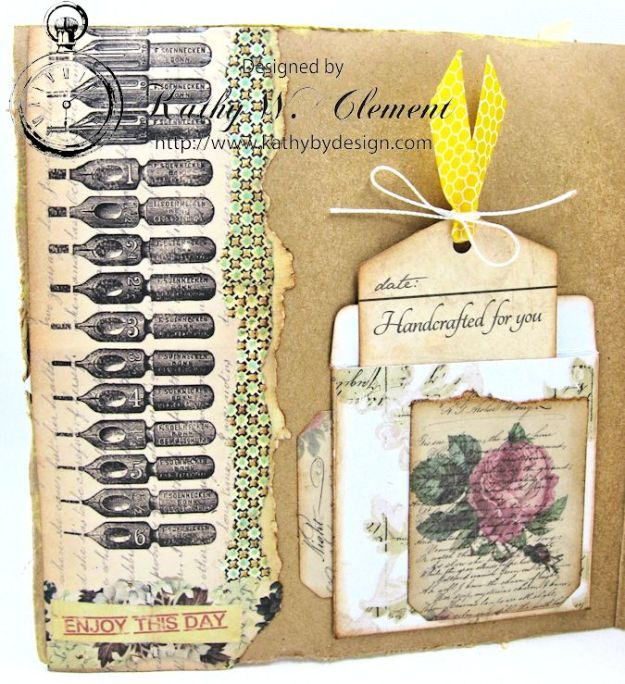 Butterfly Card Tutorial by Kathy Clement Canvas Corp Brands Mixed Media Papers and RRR June 2016 Ribbon Club Collection 08
