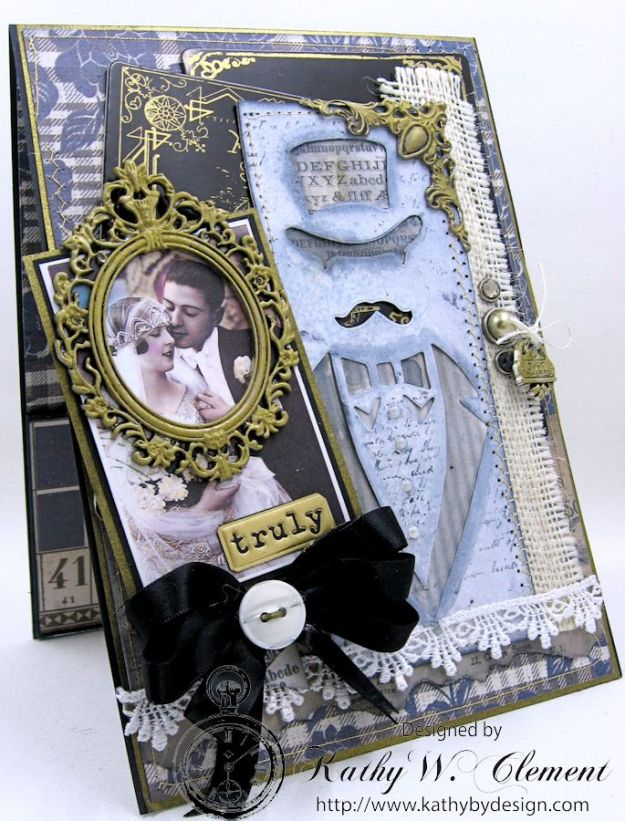 Dapper Wedding Card by Kathy Clement for Funkie Junkie Boutique 01